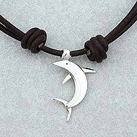 Sterling silver pendant necklace, 'Taxco Dolphin' - Taxco Sterling Silver Dolphin Pendant Necklace from Mexico