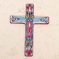 Ceramic wall cross, 'Red Lily' - Ceramic Wall Cross with Multicolored Motifs from Mexico