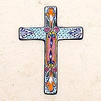 Ceramic wall cross, 'Orange Lily' - Hand Crafted Multicolored Ceramic Wall Cross From Mexico