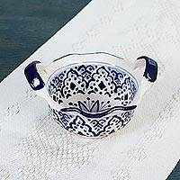 Ceramic salsa bowl, 'Village Flower' - Ceramic Salsa Bowl with Blue Floral Motifs from Mexico