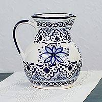 Ceramic pitcher, 'Village Flower' - Ceramic Pitcher with Blue Floral Motifs from Mexico