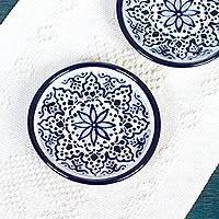 Ceramic dessert plates, 'Village Flower' (pair) - Two Dessert Plates with Blue Floral Motifs from Mexico