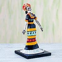 Papier mache figurine, 'Traditional Catrina' - Papier Mache Figurine of a Skeleton in a Traditional Dress