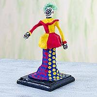 Papier mache figurine, 'Catrin Clown' - Papier Mache Figurine of a Clown Skeleton from Mexico