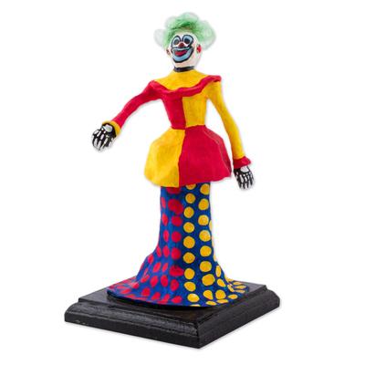 Papier Mache Figurine of a Clown Skeleton from Mexico - Catrin Clown ...