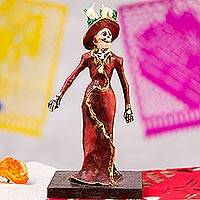 Papier mache figurine, 'Catrina in a Red Dress' - Papier Mache Figurine of a Skeleton in a Deep Red Dress