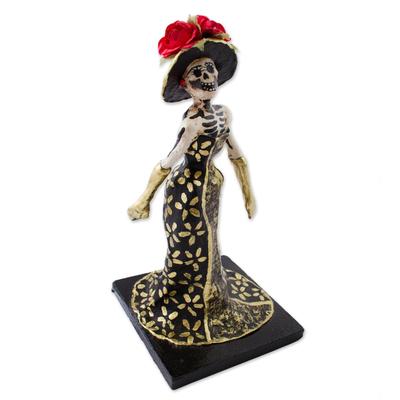 Papier Mache Figurine of a Skeleton in a Floral Dress - Catrina in a ...