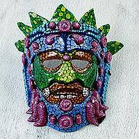 Papier mache mask, 'Colorful Huehueteotl' - Hand Crafted Papier Mache Mask of an Aztec God from Mexico