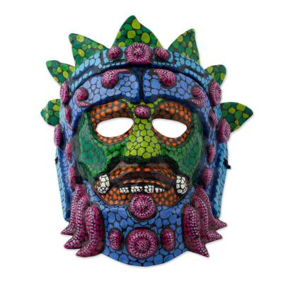 Hand Crafted Papier Mache Mask of an Aztec God from Mexico