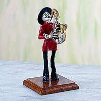 Papier mache figurine, 'Catrin Saxophonist' - Papier Mache Figurine of a Mexican Skeleton Saxophone Player