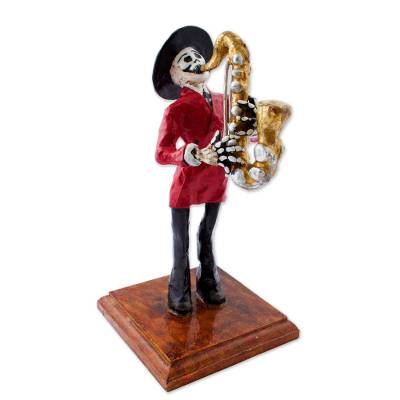 Papier Mache Figurine of a Mexican Skeleton Saxophone Player ...