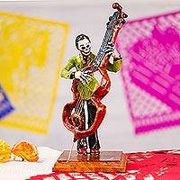 Papier mache figurine, 'Catrin Bassist' - Papier Mache Figurine of a Skeleton Bass Player from Mexico