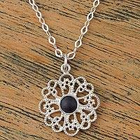 Sterling silver pendant necklace, 'Sparkling Dahlia' - 925 Sterling Silver and Ceramic Floral Necklace from Mexico