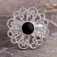 Sterling silver wrap ring, 'Glistening Dahlia' - Sterling Silver and Ceramic Floral Wrap Ring from Mexico