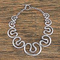 Sterling silver pendant necklace, 'Taxco Waves' - Taxco Sterling Silver Modern Pendant Necklace from Mexico