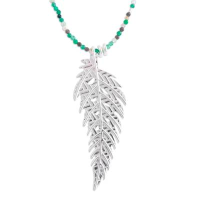 Cultured pearl and agate long pendant necklace, 'Green Enchanted Leaf' - White Pearls and Green Agate Necklace with 925 Silver Leaf