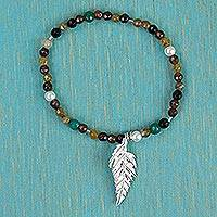 Agate pendant stretch bracelet, 'Enchanted Leaf' - Agate and 925 Sterling Silver Pendant Bracelet from Mexico