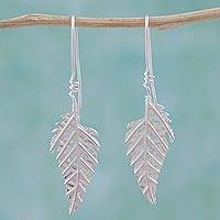 Sterling silver drop earrings, 'Enchanted Leaves' - Modern Taxco 925 Sterling Silver Leaf Drop Earrings