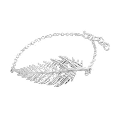 Taxco 925 Sterling Silver Leaf Pendant Bracelet from Mexico