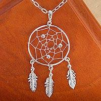 Sterling silver pendant necklace, 'Pleasant Dreams' - Sterling Silver Dream Catcher Pendant Necklace from Mexico