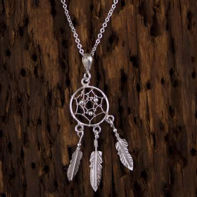 Sterling Silver Dream Catcher Pendant Necklace from Mexico
