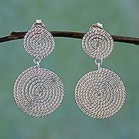 Sterling silver dangle earrings, 'Taxco Ropes' - Taxco Mexico Artisan Crafted Sterling Silver Spiral Earrings