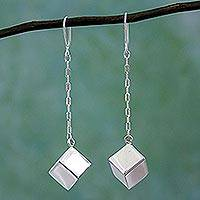 Sterling silver dangle earrings, 'Taxco Cubes' - Taxco 925 Sterling Silver Cube Dangle Earrings from Mexico