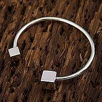 Sterling silver cuff bracelet, 'Taxco Cubes' - Taxco 925 Sterling Silver Cuff Bracelet by Mexican Artisans