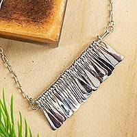 Sterling silver pendant necklace, 'Chime Garland'