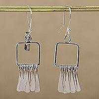 Sterling silver dangle earrings, 'Square Chimes' - Sterling Silver Square Dangle Earrings by Mexican Artisans