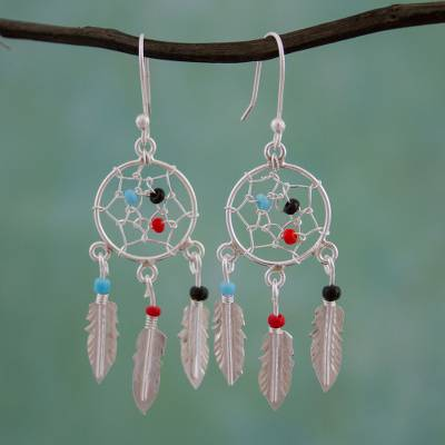 ab88a8e24 Glass beaded sterling silver dangle earrings, 'Colorful Dreams' - 925  Sterling Silver and