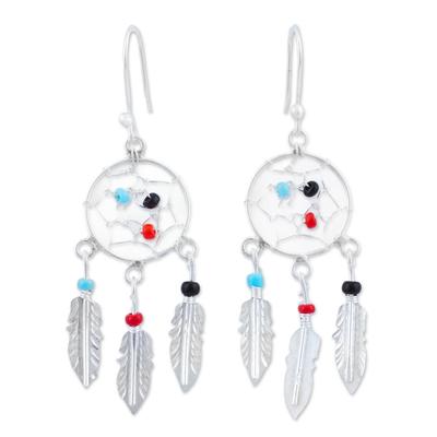 Glass beaded sterling silver dangle earrings, 'Colorful Dreams' - 925 Sterling Silver and Glass Bead Dream Catcher Earrings