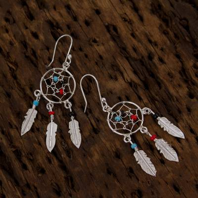 ece7f71dc 925 Sterling Silver and Glass Bead Dream Catcher Earrings, 'Colorful Dreams'.  Product ID: U30998