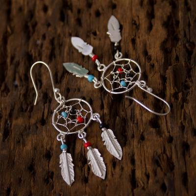 11989d6a1 925 Sterling Silver and Glass Bead Dream Catcher Earrings, 'Colorful Dreams'