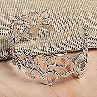 Sterling silver cuff bracelet, 'Twisting Branches' - Taxco Sterling Silver Cuff Bracelet by Mexican Artisans