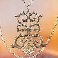 Sterling silver pendant necklace, 'Twisting Branches' - Sterling Silver Vine Motif Pendant Necklace from Mexico