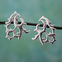 Sterling silver drop earrings, 'Twisting Branches' - Taxco Sterling Silver Vine Motif Drop Earrings from Mexico