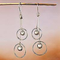 Sterling silver dangle earrings, 'Satellite Spheres' - Sterling Silver Hoop Dangle Earrings by Mexican Artisans