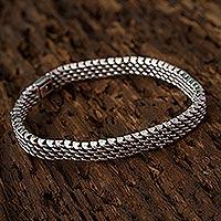 Sterling silver chain bracelet, 'Serpentine Mesh' - Taxco Sterling Silver Chain Bracelet by Mexican Artisans