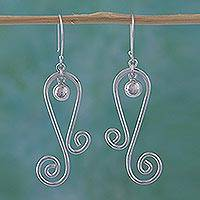 Sterling silver dangle earrings, 'Happy Curls' - Taxco Sterling Silver Spiral Dangle Earrings from Mexico