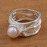 Cultured pearl cocktail ring, 'Aquatic Queen' - Cultured Pearl and Sterling Silver Cocktail Ring from Mexico