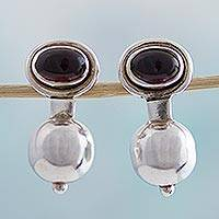 Garnet drop earrings, 'Red Balance' - Garnet and Sterling Silver Drop Earrings by Mexican Artisans