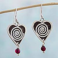 Garnet dangle earrings, 'Spiral Hearts' - Heart Shaped Garnet Dangle Earrings by Mexican Artisans