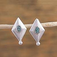 Sterling silver drop earrings, 'Celestial Rhombi' - Sterling Silver Rhombus Drop Earrings by Mexican Artisans