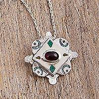 Garnet and malachite pendant necklace, 'Energy Center' - Garnet Malachite and 925 Silver Pendant Necklace from Mexico