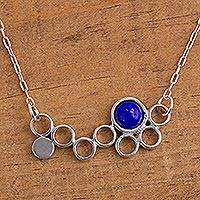 Lapis lazuli pendant necklace, 'Blue Bubble' - Lapis Lazuli and Sterling Silver Mexican Pendant Necklace