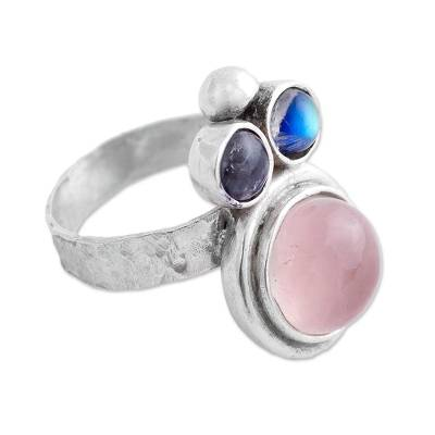 Rose Quartz and Labradorite Cocktail Ring from Mexico