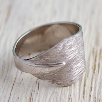 Sterling silver band ring, 'Warping Triangles' - Hand Crafted Sterling Silver Band Ring by Mexican Artisans