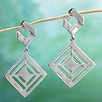 Sterling silver dangle earrings, 'Adventurous Squares' - 925 Sterling Silver Dangle Earrings by Mexican Artisans