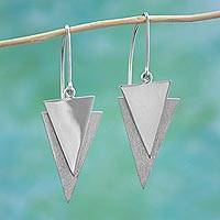 Sterling silver dangle earrings, 'Striking Arrows' - 925 Sterling Silver Triangular Dangle Earrings from Mexico